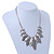 Ethnic Hammered Leaf Necklace In Burn Silver Metal - 42cm Length/ 5cm Extension - view 11