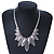 Ethnic Hammered Leaf Necklace In Burn Silver Metal - 42cm Length/ 5cm Extension - view 4