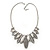 Ethnic Hammered Leaf Necklace In Burn Silver Metal - 42cm Length/ 5cm Extension