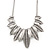 Ethnic Hammered Leaf Necklace In Burn Silver Metal - 42cm Length/ 5cm Extension - view 2