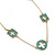 Long Stylish Round & SquareTeal Enamel Station Necklace In Gold Plating - 94cm Length/ 8cm Extension - view 3