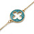 Long Stylish Round & SquareTeal Enamel Station Necklace In Gold Plating - 94cm Length/ 8cm Extension - view 4