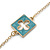 Long Stylish Round & SquareTeal Enamel Station Necklace In Gold Plating - 94cm Length/ 8cm Extension - view 6