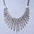 Vintage Inspired Crystal Bars Bib Style Necklace In Antique Silver Finish - 40cm Length/ 7cm Extension - view 8