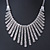 Vintage Inspired Crystal Bars Bib Style Necklace In Antique Silver Finish - 40cm Length/ 7cm Extension - view 2