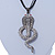 Gold Plated Crystal 'Cobra' Pendant With Black Suede Cord & Black Tone Chain - 70cm Length - view 7