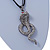 Gold Plated Crystal 'Cobra' Pendant With Black Suede Cord & Black Tone Chain - 70cm Length - view 8