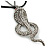 Gold Plated Crystal 'Cobra' Pendant With Black Suede Cord & Black Tone Chain - 70cm Length - view 6