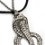 Gold Plated Crystal 'Cobra' Pendant With Black Suede Cord & Black Tone Chain - 70cm Length - view 3