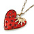 Red Enamel Crystal Heart Pendant With Gold Tone Long Chain - 70cm Length/ 7cm Extension - view 3