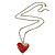 Red Enamel Crystal Heart Pendant With Gold Tone Long Chain - 70cm Length/ 7cm Extension - view 2