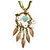Vintage Inspired Mother of Pearl, Crystal, Glass Bead Floral Pendant On Silk Ribbon & Gold Tone Chain Necklace - 40cm Length/ 5cm Extender