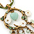 Vintage Inspired Mother of Pearl, Crystal, Glass Bead Floral Pendant On Silk Ribbon & Gold Tone Chain Necklace - 40cm Length/ 5cm Extender - view 3