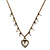 Vintage Inspired Crystal Open Heart Pendant With Bronze Tone Beaded Chain - 38cm L/ 6cm Ext - view 2