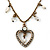 Vintage Inspired Crystal Open Heart Pendant With Bronze Tone Beaded Chain - 38cm L/ 6cm Ext