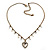 Vintage Inspired Crystal Open Heart Pendant With Bronze Tone Beaded Chain - 38cm L/ 6cm Ext - view 3