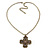 Victorian Style Bronze Tone Filigree Cross Pendant With Oval Chunky Chain Necklace - 44cm Length/ 6cm Extension - view 5