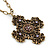 Victorian Style Bronze Tone Filigree Cross Pendant With Oval Chunky Chain Necklace - 44cm Length/ 6cm Extension - view 2