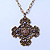 Victorian Style Bronze Tone Filigree Cross Pendant With Oval Chunky Chain Necklace - 44cm Length/ 6cm Extension - view 9