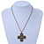 Victorian Style Bronze Tone Filigree Cross Pendant With Oval Chunky Chain Necklace - 44cm Length/ 6cm Extension - view 4