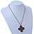 Victorian Style Bronze Tone Filigree Cross Pendant With Oval Chunky Chain Necklace - 44cm Length/ 6cm Extension - view 10