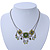 Vintage Inspired Olive Green Crystal, Enamel Square Shape Pendant With Dangles Double Chain Necklace In Burn Silver - 33cm Length/ 7cm Extension - view 2