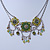 Vintage Inspired Olive Green Crystal, Enamel Square Shape Pendant With Dangles Double Chain Necklace In Burn Silver - 33cm Length/ 7cm Extension - view 8