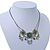 Vintage Inspired Olive Green Crystal, Enamel Square Shape Pendant With Dangles Double Chain Necklace In Burn Silver - 33cm Length/ 7cm Extension - view 9