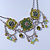 Vintage Inspired Olive Green Crystal, Enamel Square Shape Pendant With Dangles Double Chain Necklace In Burn Silver - 33cm Length/ 7cm Extension - view 10