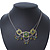 Vintage Inspired Olive Green Crystal, Enamel Square Shape Pendant With Dangles Double Chain Necklace In Burn Silver - 33cm Length/ 7cm Extension - view 11