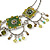 Vintage Inspired Olive Green Crystal, Enamel Square Shape Pendant With Dangles Double Chain Necklace In Burn Silver - 33cm Length/ 7cm Extension - view 3