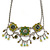 Vintage Inspired Olive Green Crystal, Enamel Square Shape Pendant With Dangles Double Chain Necklace In Burn Silver - 33cm Length/ 7cm Extension