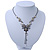 Grey, Cream Enamel Floral Y Shape Necklace In Pewter Tone Metal - 38cm L/ 6cm Ext - view 3