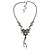 Grey, Cream Enamel Floral Y Shape Necklace In Pewter Tone Metal - 38cm L/ 6cm Ext - view 4