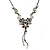 Grey, Cream Enamel Floral Y Shape Necklace In Pewter Tone Metal - 38cm L/ 6cm Ext - view 1