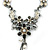 Grey, Cream Enamel Floral Y Shape Necklace In Pewter Tone Metal - 38cm L/ 6cm Ext - view 2