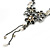 Grey, Cream Enamel Floral Y Shape Necklace In Pewter Tone Metal - 38cm L/ 6cm Ext - view 6