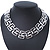 Statement Polished Square Link Choker Necklace In Rhodium Plating - 36cm Length