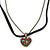Small Filigree Red Crystal Heart With Black Suede, Bronze Tone Bead Chain - 36cm L/ 4cm Ext - view 3