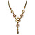 Vintage Inspired Pastel Enamel, Crystal Floral V-Shape Necklace In Bronze Tone Metal - 38cm Length/ 6cm Extension