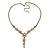 Vintage Inspired Pastel Enamel, Crystal Floral V-Shape Necklace In Bronze Tone Metal - 38cm Length/ 6cm Extension - view 2