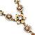 Vintage Inspired Pastel Enamel, Crystal Floral V-Shape Necklace In Bronze Tone Metal - 38cm Length/ 6cm Extension - view 3