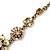 Vintage Inspired Pastel Enamel, Crystal Floral V-Shape Necklace In Bronze Tone Metal - 38cm Length/ 6cm Extension - view 4