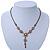 Vintage Inspired Pastel Enamel, Crystal Floral V-Shape Necklace In Bronze Tone Metal - 38cm Length/ 6cm Extension - view 6