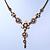 Vintage Inspired Pastel Enamel, Crystal Floral V-Shape Necklace In Bronze Tone Metal - 38cm Length/ 6cm Extension - view 7
