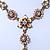 Vintage Inspired Pastel Enamel, Crystal Floral V-Shape Necklace In Bronze Tone Metal - 38cm Length/ 6cm Extension - view 8
