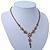 Vintage Inspired Pastel Enamel, Crystal Floral V-Shape Necklace In Bronze Tone Metal - 38cm Length/ 6cm Extension - view 9