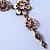 Vintage Inspired Pastel Enamel, Crystal Floral V-Shape Necklace In Bronze Tone Metal - 38cm Length/ 6cm Extension - view 13