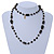 Black Glass, Ceramic Bead With Gold Tone Wire Long Necklace - 88cm L - view 7