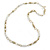 Long Milky White/ Beige Glass and Ceramic Bead, Gold Round Link Necklace - 100cm L - view 4